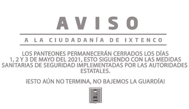 Cerrarán panteones de Ixtenco tres días como medida preventiva contra el Covid