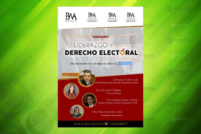 Colegio de abogados impartirá el seminario Liderazgo y Derecho Electoral