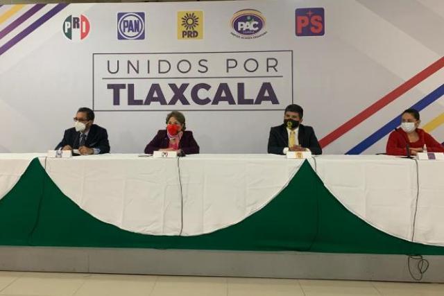 """Confirman PAN, PRI, PRD, PAC y PS alianza """"Unidos por Tlaxcala"""""""