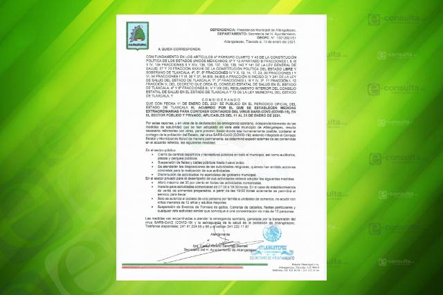 Vuelven a suspender actividades no esenciales en Atlangatepec por Covid