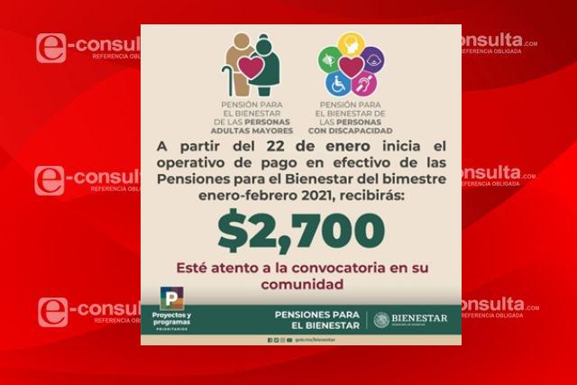 Inicia mañana operativo de pago de Pensiones de Adultos Mayores y Discapacidad