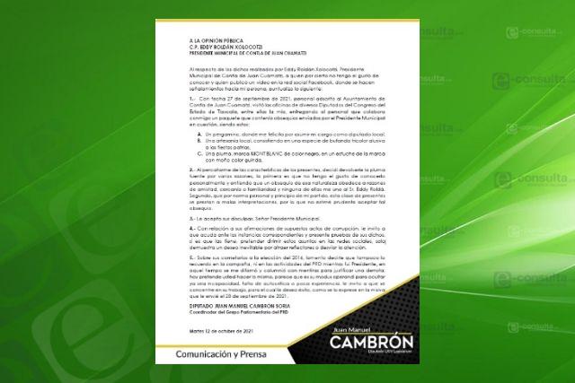 Cambrón acepta disculpas de Eddy Roldán, alcalde de Contla