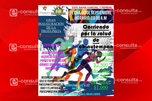 Invitan a correr por la salud de Chiautempan este 20 de septiembre