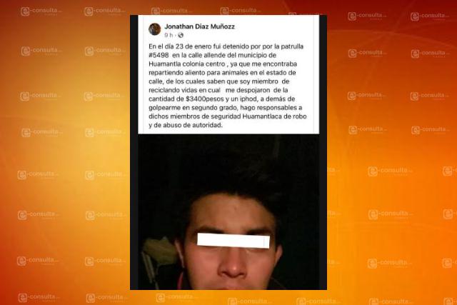Falso que policía municipal haya detenido a masculino en calles de Huamantla