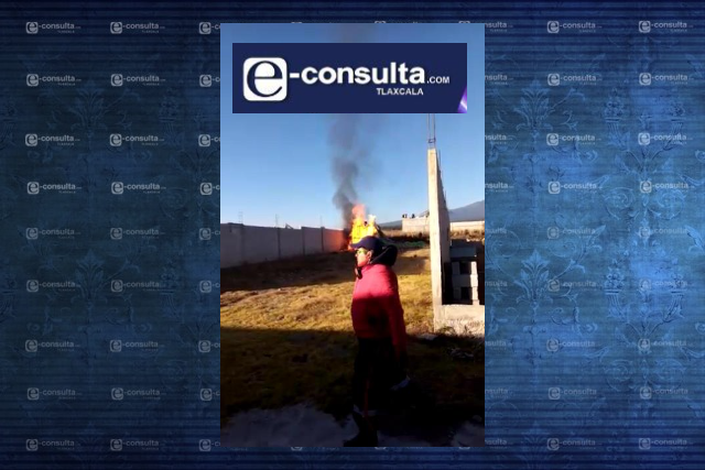 Cae globo aerostático y explota su tanque de gas en Ixtenco