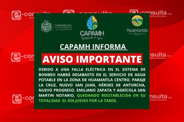 En Huamantla habrá suspensión del servicio de agua por mantenimiento