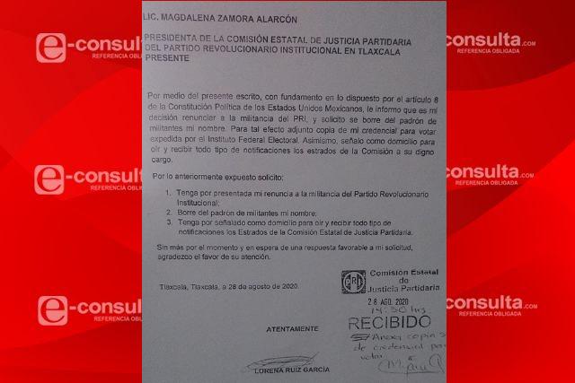 La regidora de Apizaco Lorena Ruiz renuncia a su militancia priista