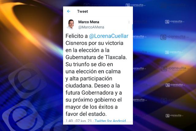 Marco Mena felicita a Lorena Cuéllar por su triunfo en la elección