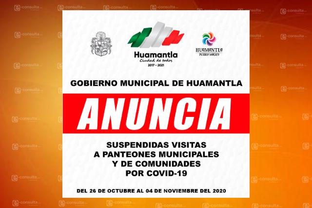 Ayuntamiento Huamantla determina cierre de panteones por Covid-19
