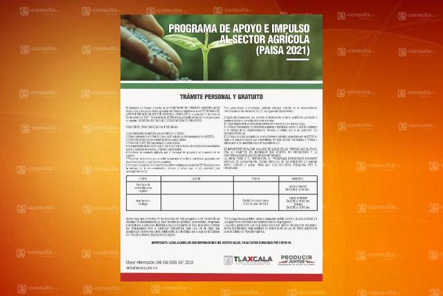 Invitan a participar en el programa de apoyo al sector agrícola