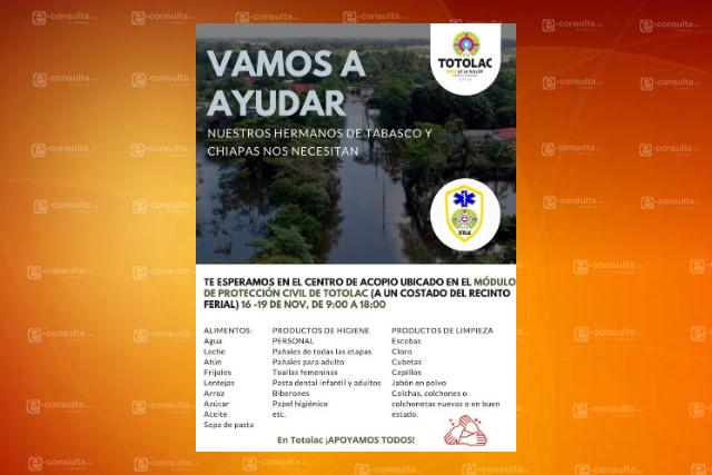 Instalan centro de acopio en Totolac para ayudar a los damnificados