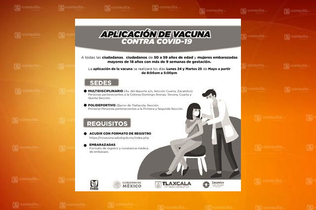 Vacunarán contra el Covid-19 a personas de 50 a 59 años en Zacatelco