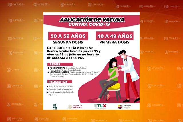 15 y 16 de julio vacunación contra COVID-19 a los habitantes de Zacatelco