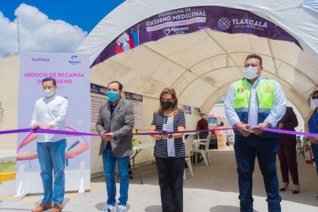 Inaugura gobernadora Cuéllar kiosco de oxígeno en Apizaco