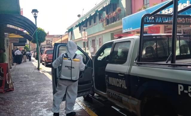Desinfectan patrullas e instalaciones de seguridad en Chiautempan