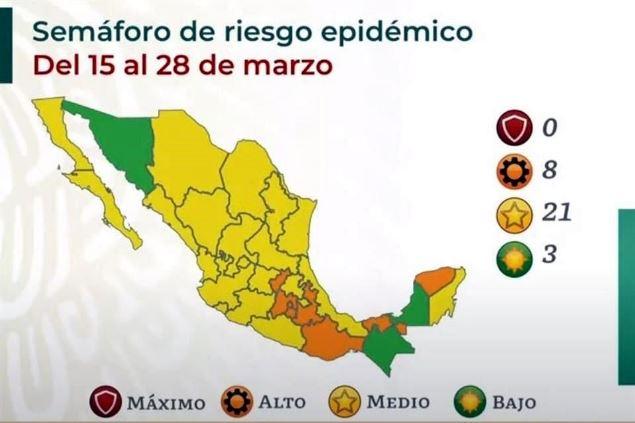 Se mantendrá Tlaxcala por 15 días más en color amarillo