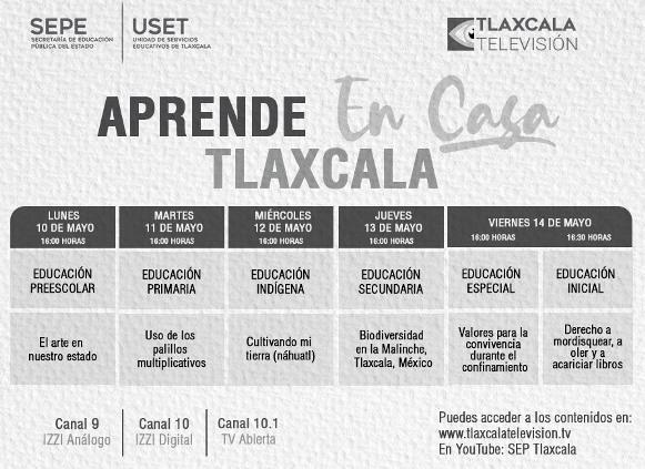 SEPE revela barra temática de Aprende en Casa Tlaxcala del 10 al 14 de mayo