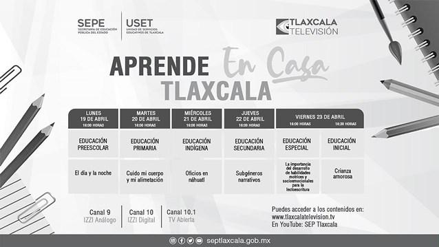 Sepe presenta barra temática de Aprende en Casa Tlaxcala del 19 al 23 de abril