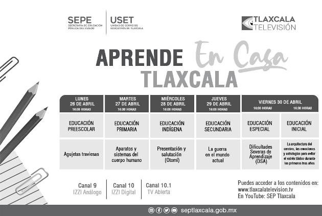 """Sepe presenta barre de """"Aprender en Casa Tlaxcala"""" del 26 al 30 de abril"""