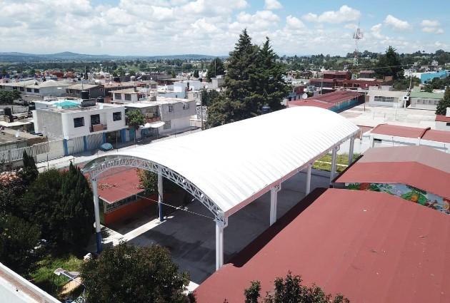 Avanza construcción de techumbre de Jardín de Niños de Tetla