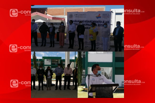 Eleazar Molina entrega tres techumbres a escuelas en Tetla