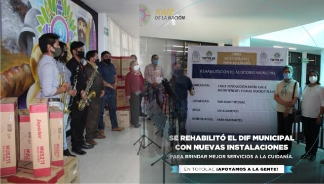Adecuan en Totolac espacio de música y entregan rehabilitación del auditorio