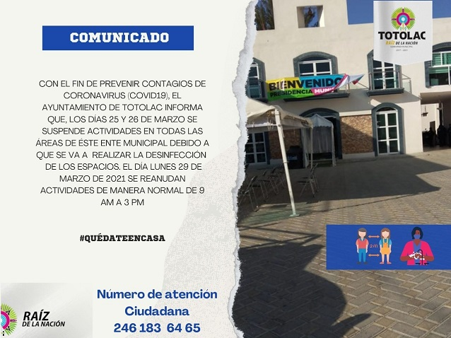 Suspenden actividades en el Ayuntamiento de Totolac por desinfección