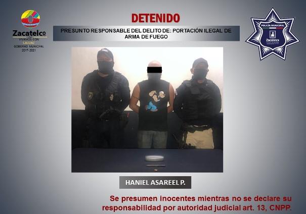 Detienen a sujeto con posesión ilegal de arma de fuego en Zacatelco
