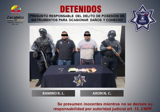 Detienen a dos masculinos por cohecho en Zacatelco