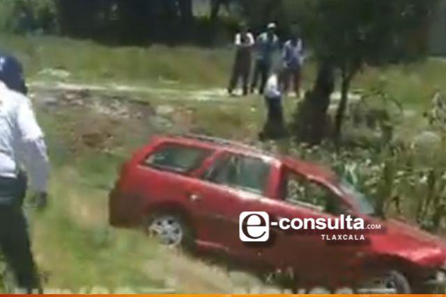 Se queda dormido y sale dema autopista Tlaxcala-Texmelucan
