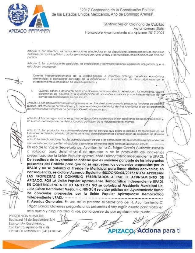 No se firmará convenio, concluyen las negociaciones del H. Ayto de Apizaco con UPADI