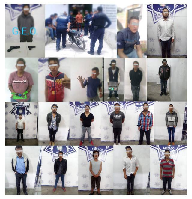 Contundente: la Policía de Apizaco detuvo a 25 personas en cinco días