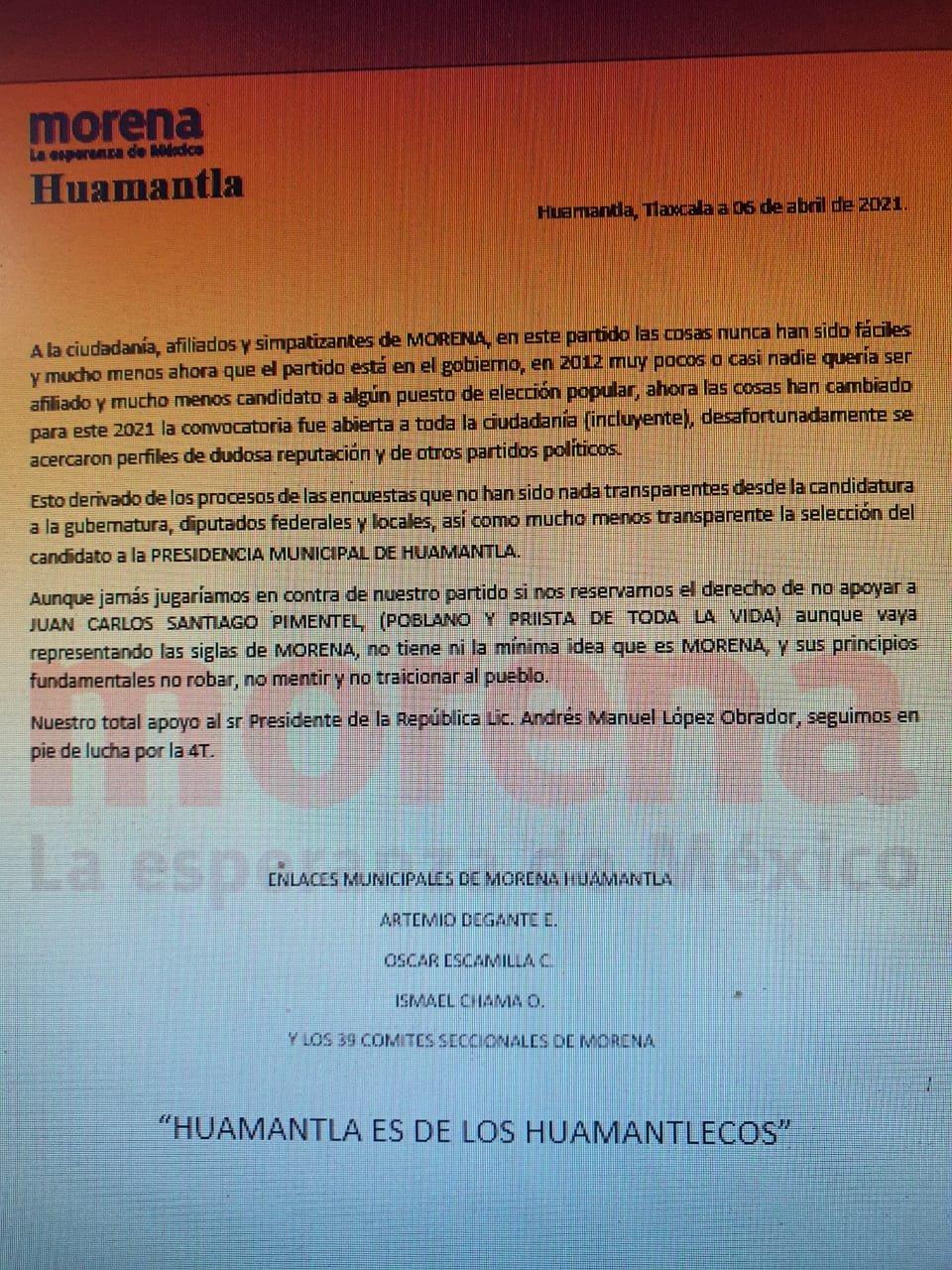 Candidato poblano de Huamantla no lo apoyarán los morenistas