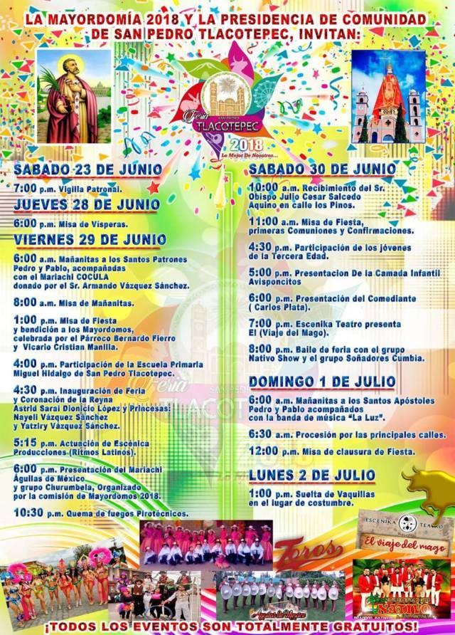 Alcalde alista feria de San Pedro Tlacotepec 2018 del 29 de junio al 2 de julio