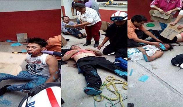 Quedaron atrapados en una cisterna tres pintores en Tzompantepec