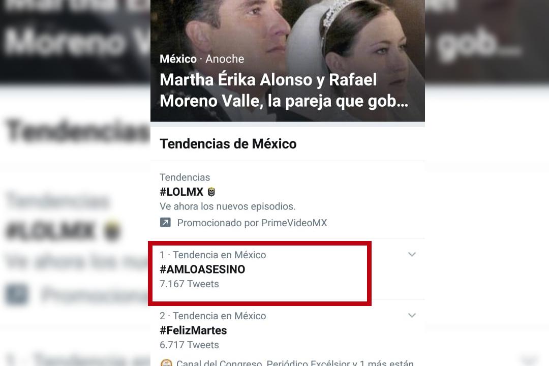 Amanece Twitter con tendencia de #AMLOASESINO