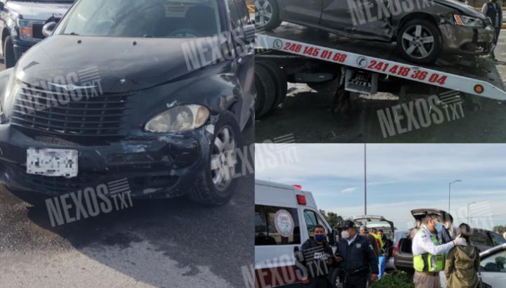 Empleada de la PGJE provoca accidente en Apetatitlán: intento 'charolear'