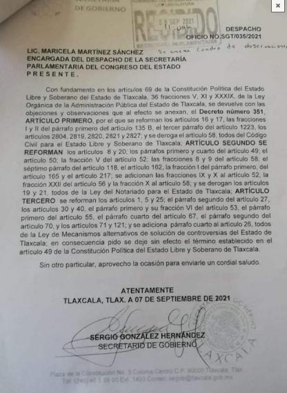 Ley de Notariado en Tlaxcala, vetado por Lorena Cuéllar