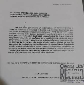 Piden vecinos de Zacatelco intervención de COEPRIST para regular bar