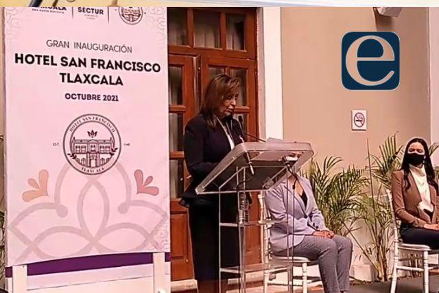 Lorena Cuéllar encabeza la reinauguración del Hotel San Francisco Tlaxcala