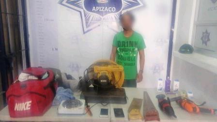 Frustra policía de Apizaco robo a inmueble; detiene al responsable