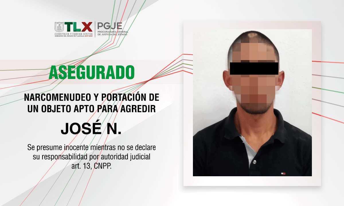Asegura PGJE a imputado por delitos contra la salud y portación de objeto apto para agredir