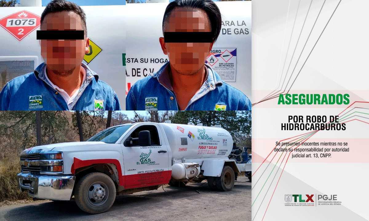 Asegura PGJE a dos imputados por cargar y repartir gas ilegal