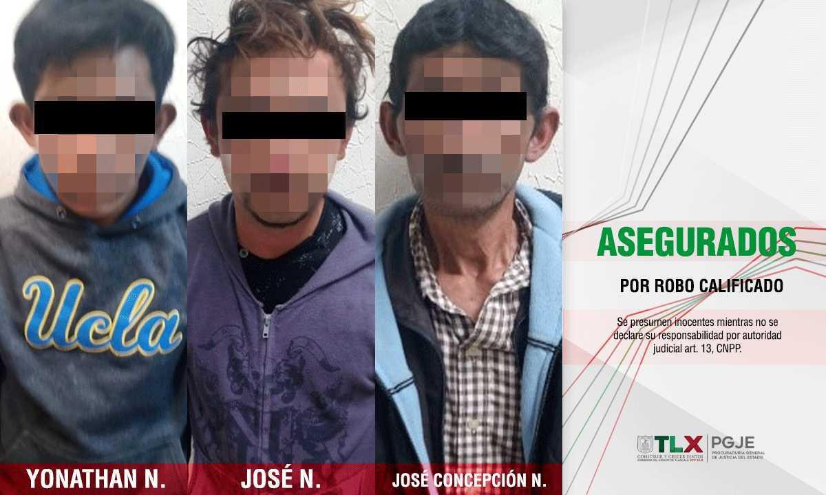 En Tlaxco asegura PGJE a tres imputados por robo calificado