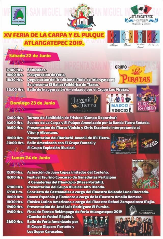 Del 22 al 24 llega la XV Feria de la Carpa y el Pulque Atlangatepec 2019: alcalde