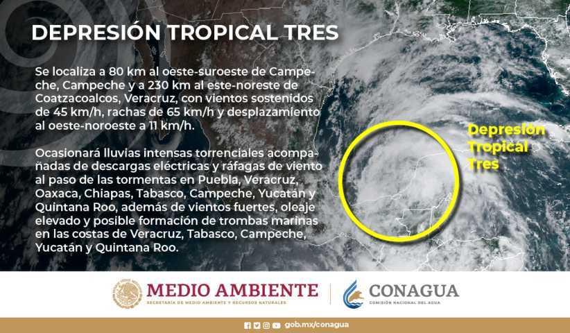 Se formó la Depresión Tropical Tres en el Golfo de México