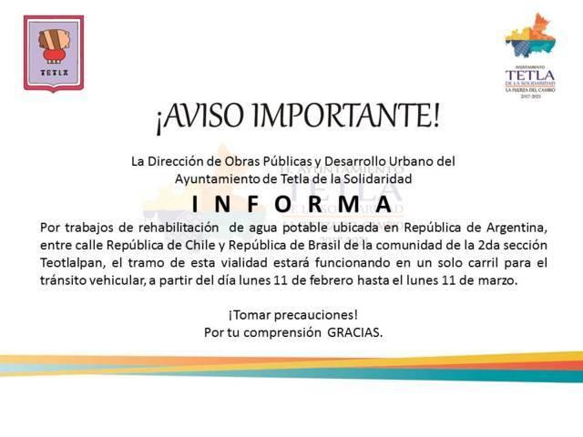 Ayuntamiento de Tetla anuncia modificaciones en su circulación vehicular