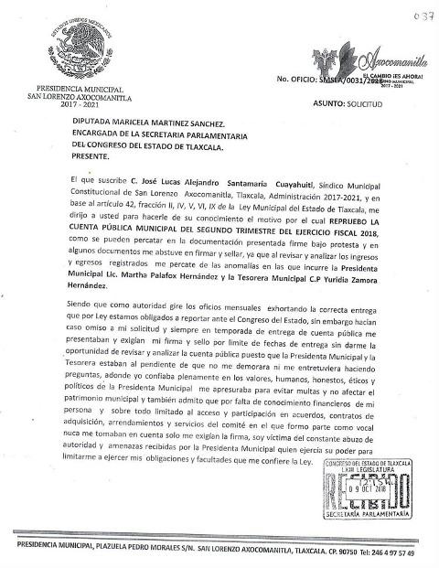 Piden destitución de alcaldesa de Axocomanitla por transa