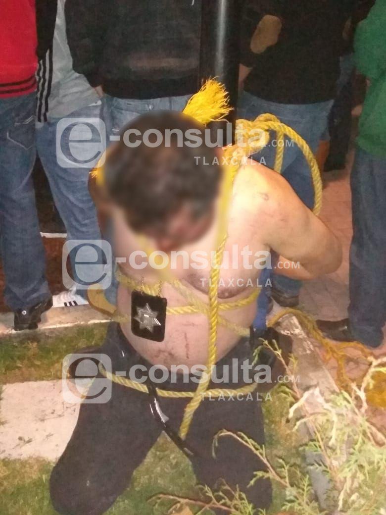 Por robar una camioneta intentan linchar a un policía de Puebla