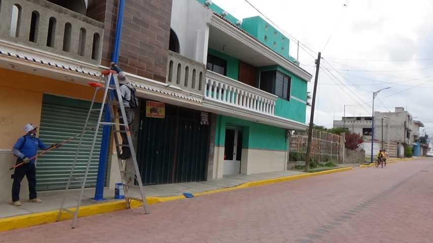 Llevan a cabo mantenimiento de postes en San Pablo del Monte
